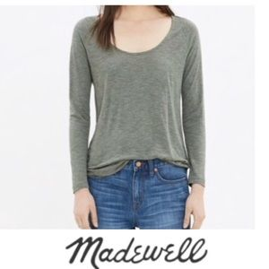 Madewell Blue Cotton Long Sleeve Tee